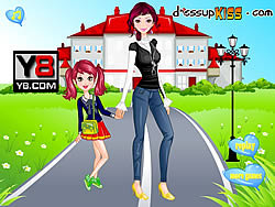 Juega al juego gratis Go To School With Mother