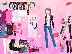 Pink Glitter Dress Up game